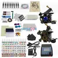 2 Tattoo Machine Guns 54 Color Inks Needles Complete Kit Set Equipment T016 US FREE SHIPPING fedex