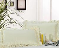 Free Shipping!! New Arrival Excellent 100% Cotton Beige Color Zipper Style  Pillow Cover , 48cm*74cm Size, 2 pcs / lot