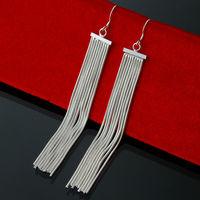Hot Sale Free Shipping 925 Silver Fashion wedding Jewelry Long Tassel Women Drop Dangle Earrings Wholesale EH059