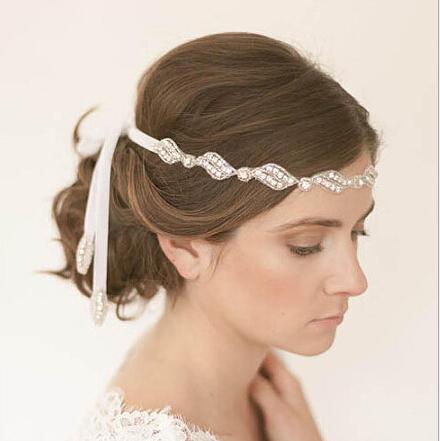 Luxury Rhinestone bridal headband hair accessories bridal headdress frontlet pearl jewelry wedding dress accessories