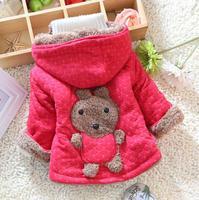 2014 new winter plus thick velvet cute cartoon bear cotton long-sleeved hooded jacket girl coat children 's clothes E 329