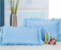 Free Shipping!! New Arrival Excellent 100% Cotton Light Blue Color Zipper Style  Pillowcase , 48cm*74cm Size, 2 pcs / lot