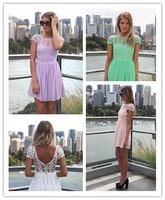 Hot Sale 2014 White Pink Blue Purple 4 Colors For You Choose Love Lace Applique Short Dress Women Party Dress Free Shipping