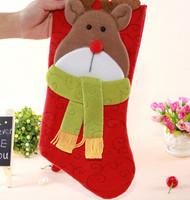 GAGA !Free shipping shipping high quality christmas decoration supplies cartoon deer christmas gift stocking,40pcs/lot,YS1-12