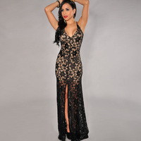 NEW Fashion Sexy Women's V-Neck Bandage Backless Hollow Black Lace Nude Illusion High Slit Evening Party Dancing Dress