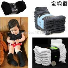 free shipping White black gray children socks boy big boys sock male child 100% baby cotton girls kids wholesale retail on sale