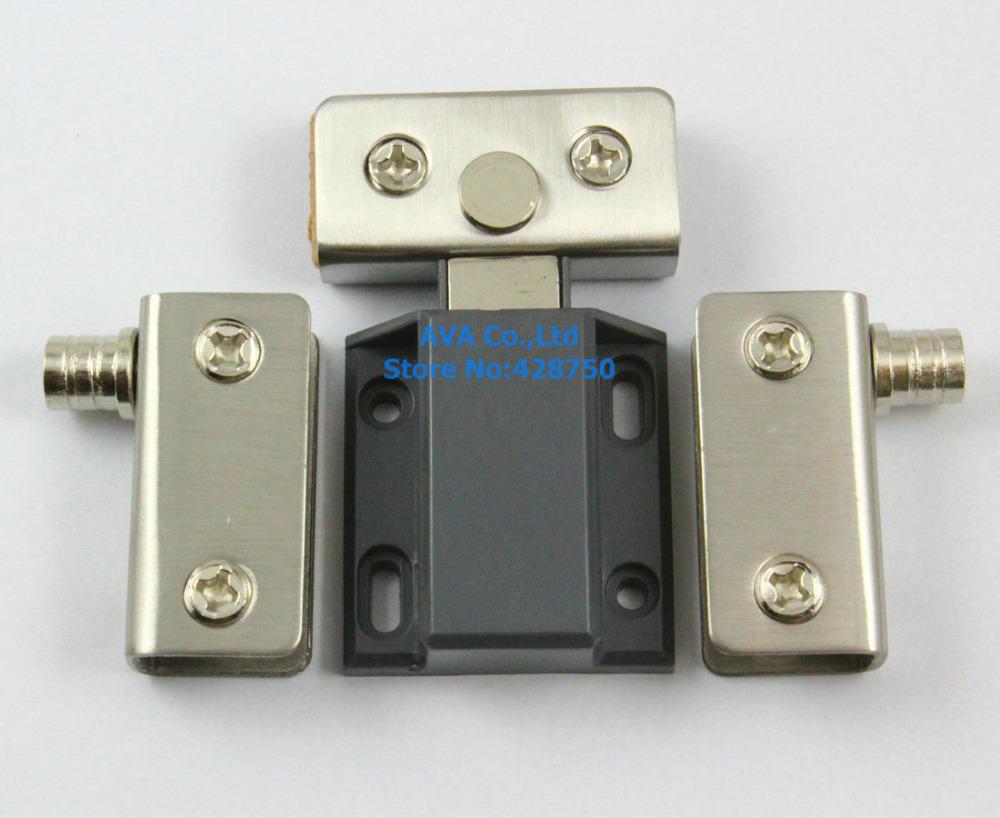 2 x Press Open Single Glass Door Pivot Hinge Set Clamp Clip Magnetic Catch Latch(China (Mainland))