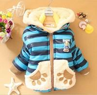 1 pcs 2014 winter coat baby casual toddler boy winter coat Cartoon Bear stripes children warm snowsuit clothing for kids AB261