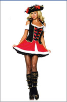 2014 New Arrival Hot Sale Cute Pirate Costume  Women Halloween Carnival Costume For Women Dress+Hat Free Shipping