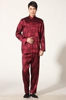New Black Chinese men's silk kung fu suit pajamas size:M--3XL