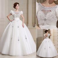 QYJY018 White Bride dresses for wedding 2014 vestido de noiva com renda O-Neck Crystal Lace puffy ball gown wedding dresses 2014