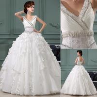 QYJY020 Ivory V-Neck Bride dresses for wedding 2014 vestido de noiva com renda Crystal Lace puffy ball gown wedding dresses 2014