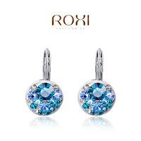 ROXI earrings bule pink 2 colors enuine Austrian Crystals women round clip earrings birthday gift 2020124390b-11 drop shipping