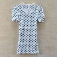 2014 New women summer gentlewomen full-body polka dot slim o-neck short-sleeve T-shirt SZB-535
