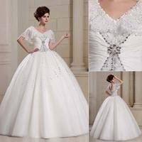 QYJY019 White V-Neck Bride dresses for wedding 2014 vestido de noiva com renda Crystal Lace puffy ball gown wedding dresses 2014