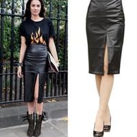 New 2014 Autumn OL Office Lady High-waist Faux Leather Pencil Skirt Sexy Black Leather Skirts PU Pencil Skirt Saia De Couro 2472