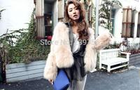 2014 Winter warm Fox Fur Coat outerwear womens fashion fur coat Free shipping