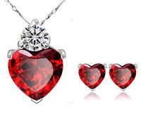 Red heart necklace earrings set Sincere Heart Pomegranate Balas Zircon Pendant Jewelry Set Women's Wedding Gift