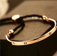 YTSL35 Fashion Casual Designer 14K Real Gold Plated Nail Screws Crystal Bracelet Bangles Women Men Adjustable Bracelet Chain