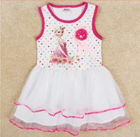 New! wholesale 5pcs/lot 18m~6y kids girl summer elsa princess printed multicolor polka dots white sleeveless mesh dress