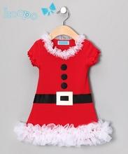 2014 New Baby girls Christmas Dress belt button print short sleeve dresses Santa Claus cute lace infant  dress free shipping(China (Mainland))
