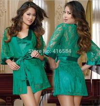 2PC Sexy Lace Cardigans Kimono Silk Robe Women Satin Dressing Gown Peignoir Women's Bathrobe Nightgown Sleepwear(China (Mainland))