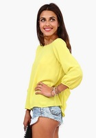 free shipping ! 2014 women's European Amercian style clothing girl's solid bow chiffon shirt female backless chiffon blouse