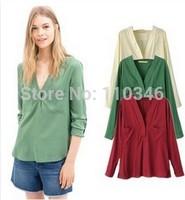 New Women Blouse Long Sleeve V-neck Pockets Irregular Back Shirts Candy Color Big Yards Loose Women Shirt Tops S M L