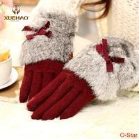 Luxury Korean women autumn winter warm cashmere gloves, female wool thin short thin wool gloves