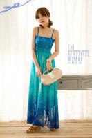 New 2014 women summer dress Bohemian Beach Chiffon Long Dress Sleeveless Spaghetti Strap  Casual Gradient Color Sexy dress 697