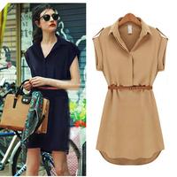 Womens Chiffon Dress Short Sleeve Loose Blouse Maxi Dresses With Belt S-XL Freeshipping