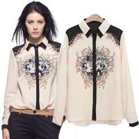 Polo Ralph Women Shirt All-Match Novelty Asymmetical Print Button Loose Long Sleeve Casual Chiffon Blouses zyd42002