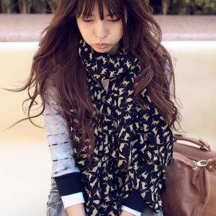 women winter Scarves fashion style silk little cat Scarves polka velvet chiffon Bohemia Scarves(China (Mainland))
