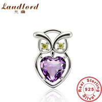 Hot Sale High Quality elegant owl pendants for women Pure 925 sterling silver luxury Austrian crystal necklaces & pendants DN048