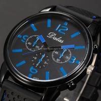 Original Brand Dalas Black Blue Dial Round Face Black Silicon Belt Analog Outdoor Quartz Sports Men's Wrist Watches  / WAA754