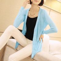 Autumn sun protection clothing air conditioning shirt loose medium-long plus size long-sleeve sweater cardigan women's thin