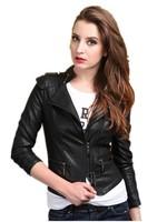 M-XXXXXL 2015 Fall Fashion For Women Korean Stand Collar PU leather Epaulet Slim Big Size Short Motorcycle jacket