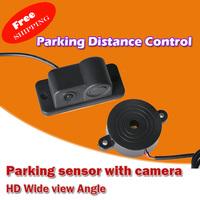 Free Shipping! 2 In 1 Car Reversing Radar Video System Anti-collision Radar Parking Distance Control