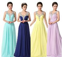Fashionable New blue chiffon Double Shoulder Long evening dress purple prom dresses 2014 vestidos de festa vestido longo E105