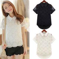 Hot Sale Summer Women Retro Elegant Chiffon Short Sleeve Floral Hollow Shirt Blouse Tops