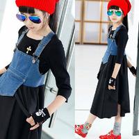 2014 autumn models girls strap irregular pendulum denim dress, harness dress