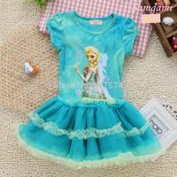 Kidsdress Promotion Short Baby Girls Dress Elsa Ana Frozen Princess New 2014 Cartoon Casual Dressess for 2-7 Years Party & Kids