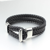 fashion black leather rope bracelets charm stainless steel jewelry for men women