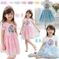 2014 Dresses Infant Dress Vestido free Shipping,lace Snow Short Sleeve Children's Frozen Dress Cartoon Elsa Tutu Girls 5pcs/lot