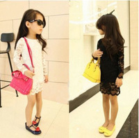 wholesale (5pcs/lot)-child girl long sleeve full lace dress