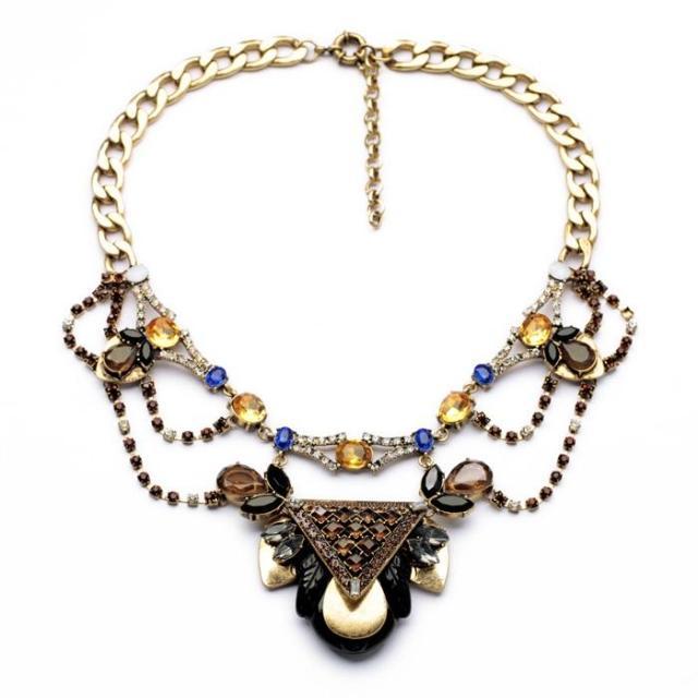 Handmade Colorful Luxury Exaggerated big Brand Retro p Necklaces 2014 New Design National Style Jewelry NRSJN805(China (Mainland))