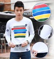 Fashion Men Sports T-shirt Color Stripes t shirts fitness Crew Neck Long Sleeve Tops Tee Shirt White camisa masculina