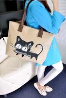 2014 new promotional Miss Han Ban lovely linen large bag handbag shoulder bag 108 fish kittens free to send