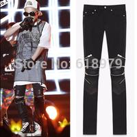 2014 new fashion leather biker pants denim motorcycle punk zipper skinny ripped jeans for men pyrex hba yeezy swag size S- XXL