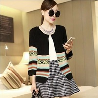 2014 autumn vintage national trend women's sweater three quarter sleeve loose cardigan short jacket cape sweater